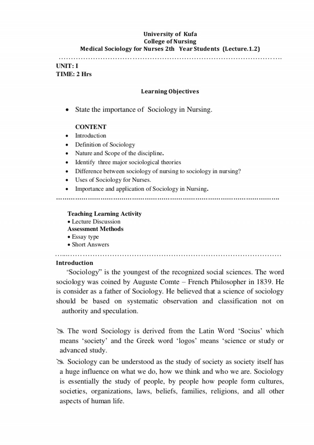 005 Essay Example Lecture1introdicationmedicalsociologyfornursing Conversion Gate01 Thumbnail On Importance Of Social Rare Science Large