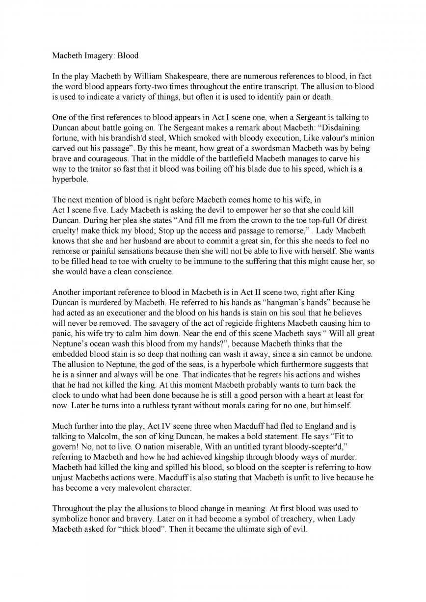 005 Essay Example Macbeth Sample Good Fascinating Examples University Explanatory For Middle School Introduction 868