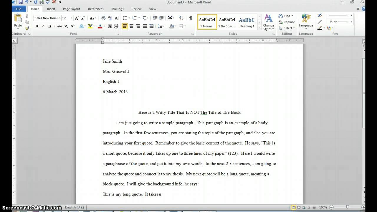 005 Essay Example Maxresdefault How To Write Quote In Awful A An Put Harvard Apa Style Full