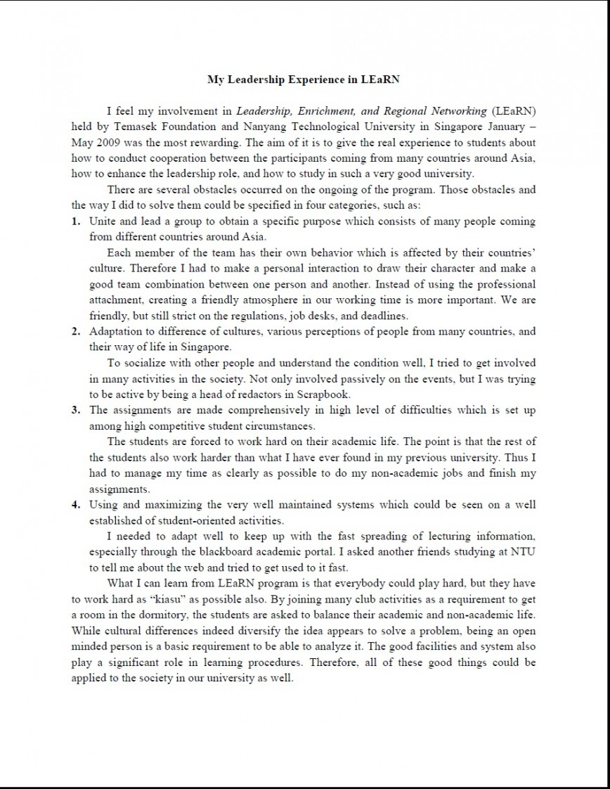 005 Essay Example My Awesome Leadership Examples Pdf Nhs Personal