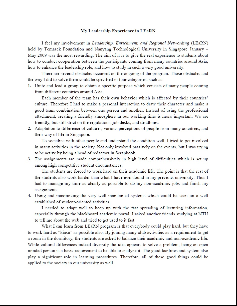 005 Essay Example My Awesome Leadership Student Nhs Examples Pdf Full