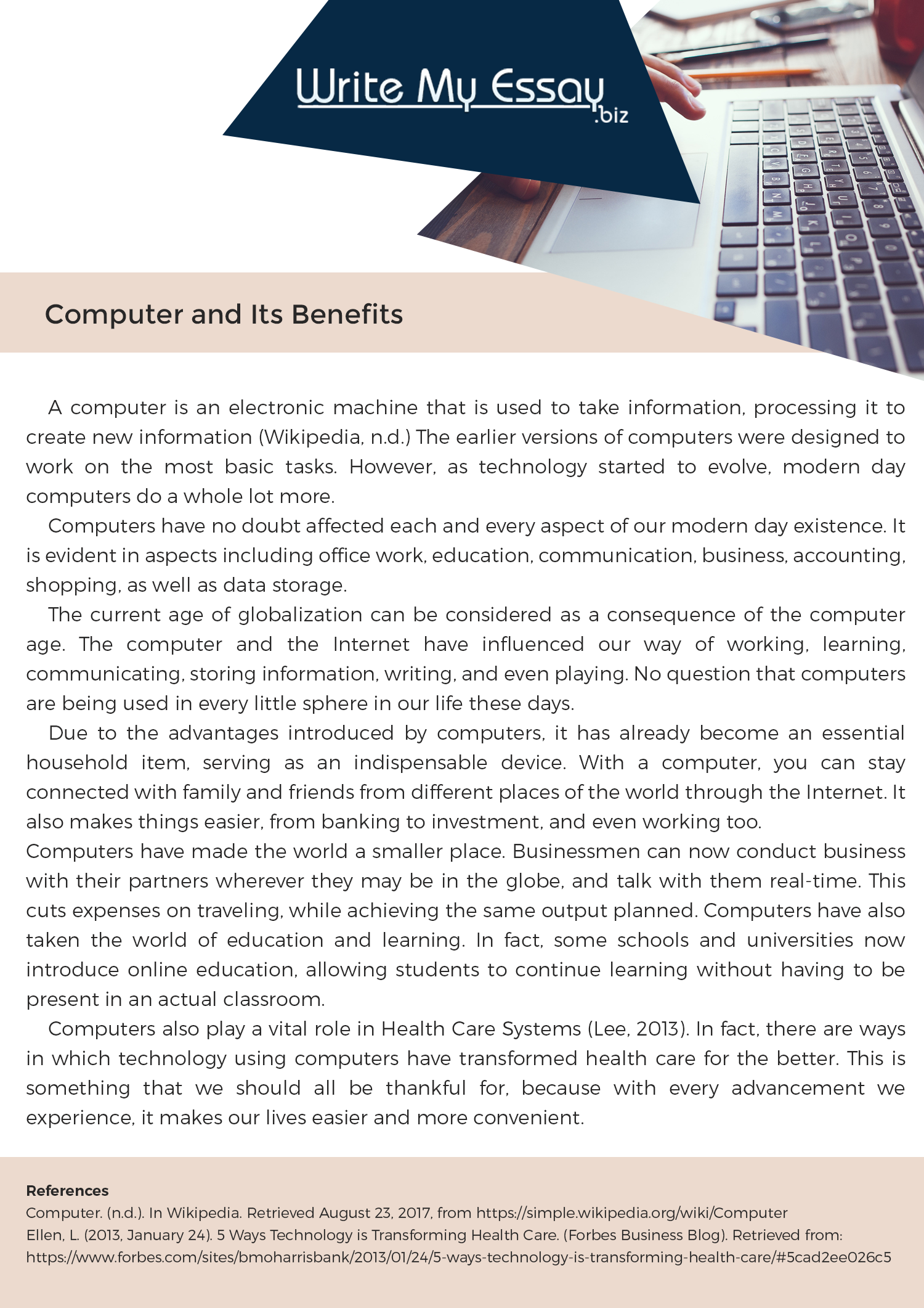005 Essay Example On Computer And Its Benefits Fearsome Security Privacy Skills College Science Full