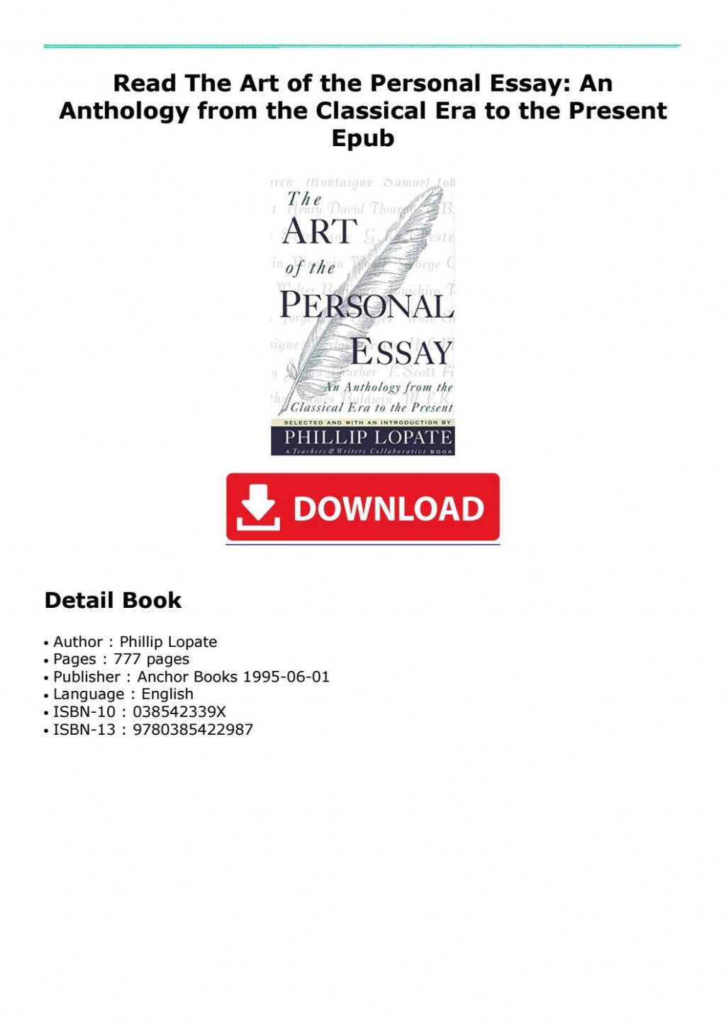 005 Essay Example Page 1 The Art Of Beautiful Personal Phillip Lopate Table Contents Sparknotes Large