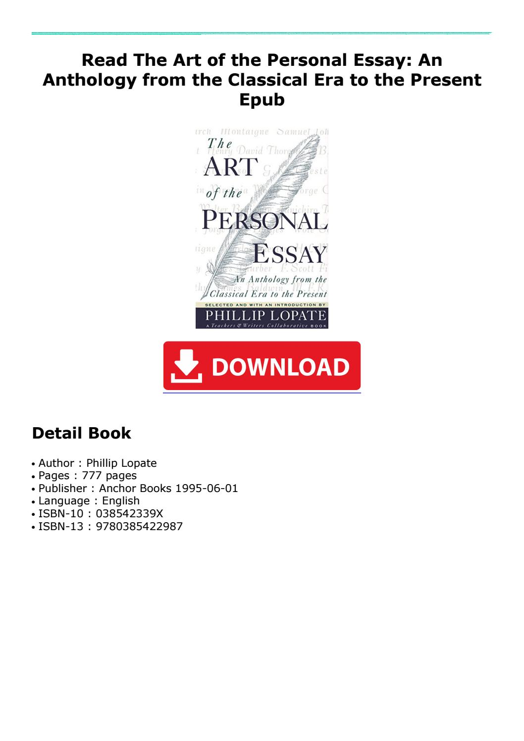 005 Essay Example Page 1 The Art Of Beautiful Personal Phillip Lopate Table Contents Sparknotes Full