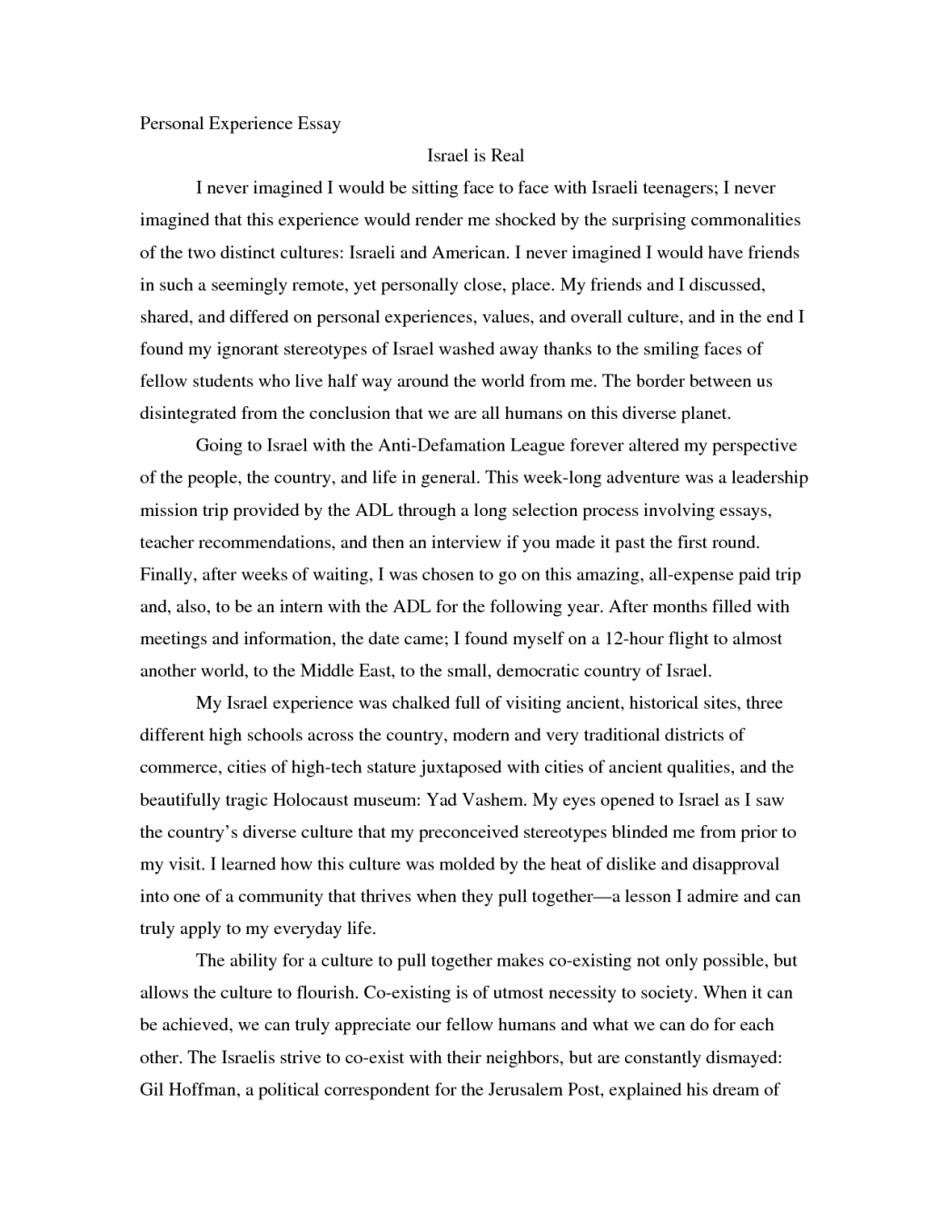 The Best Experience of My Life Essay - Words