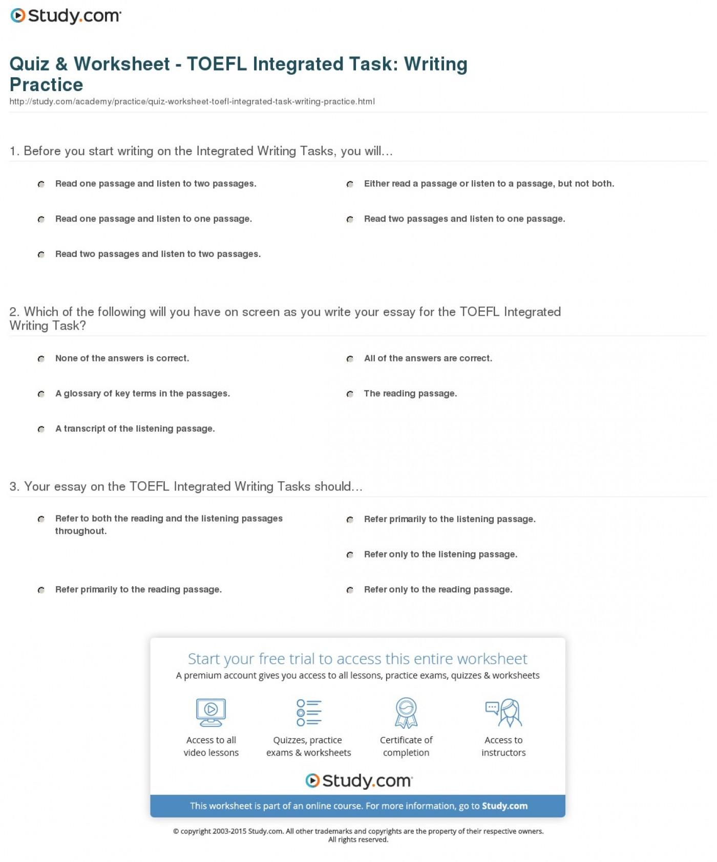 005 Essay Example Quiz Worksheet Toefl Integrated Task Writing Practice Ibt Topics Striking 2015 1400