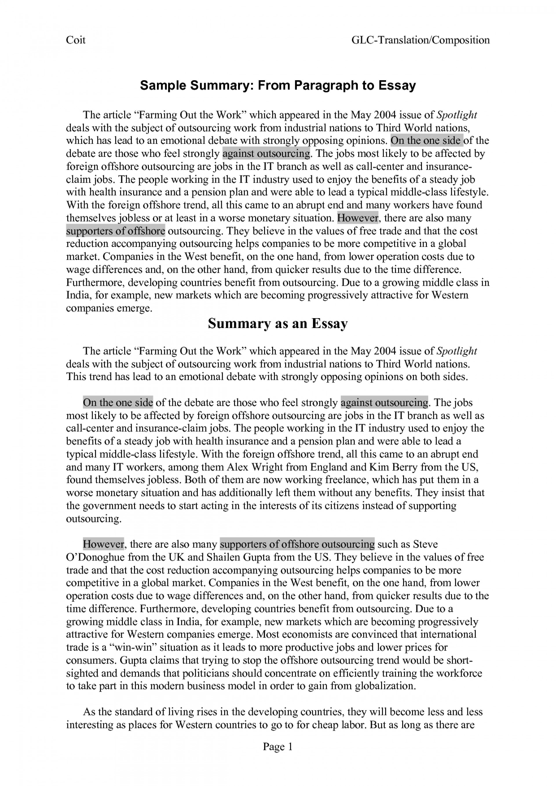 005 Essay Example Sample Summary Papers 248300 Imposing Research Paper Analysis Examples Executive 1920