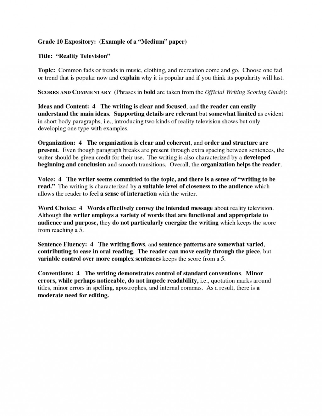 005 Essay Example Th Grade Expository Writing Samples Examples Impressive Theme High School For 7th Large