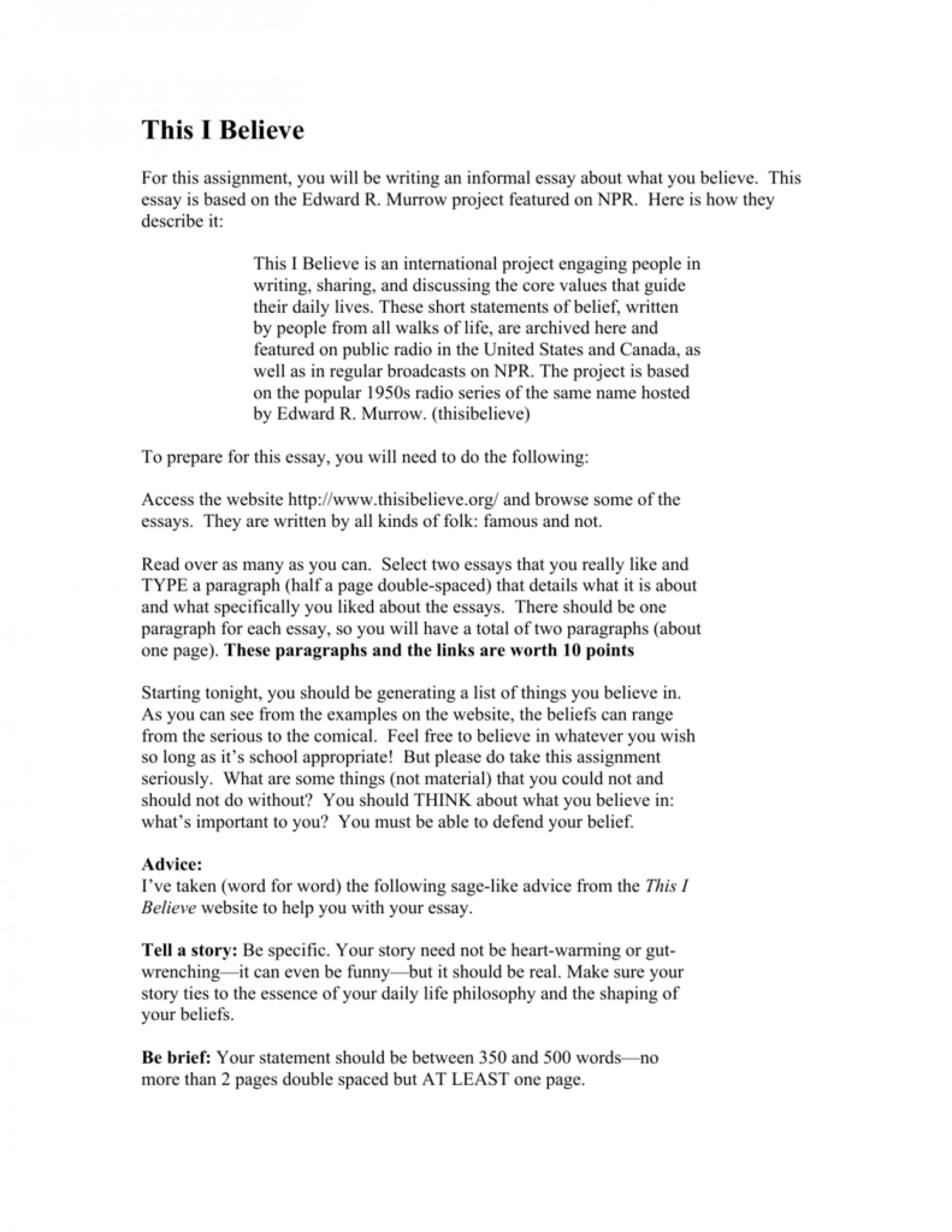 005 Essay Example This I Believe Essays 008807220 1 Dreaded By High School Students Npr 1920