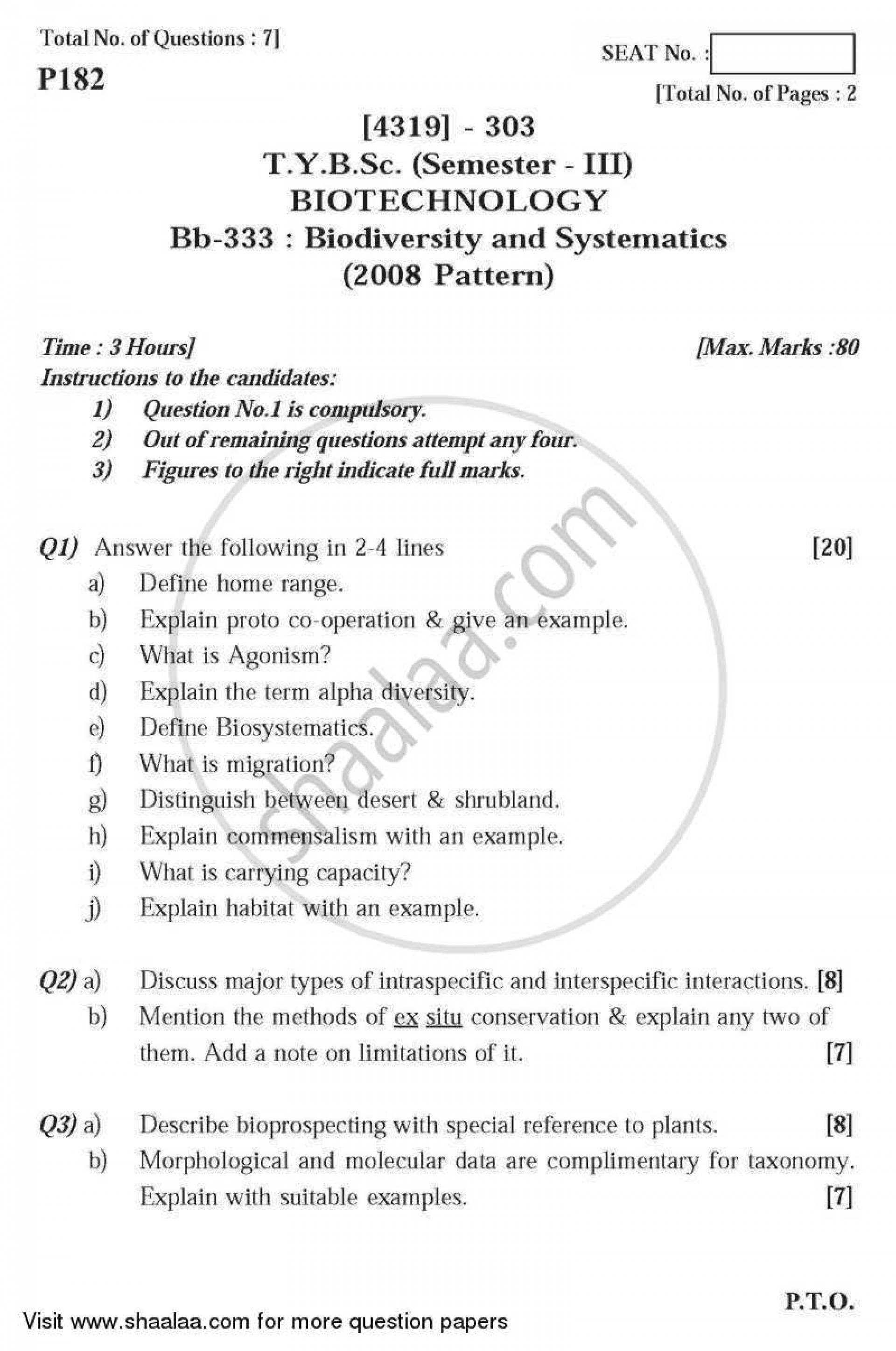 005 Essay Example University Of Pune Bachelor Bsc Biodiversity Systematics Semester Tybsc 2014 241e4b2d3b7a347c791967f1213c86ee3 Phenomenal Topics Questions 1920