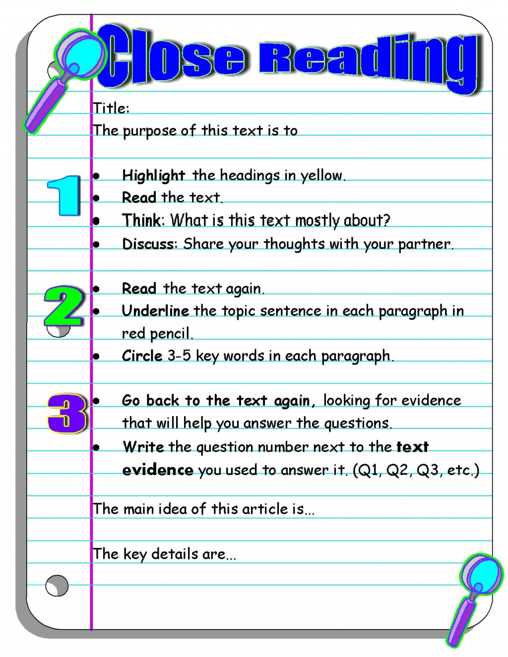 005 Essay Example What Is The Main Idea Of Reads I Pencil Close Reading Organizer Wonderful Large