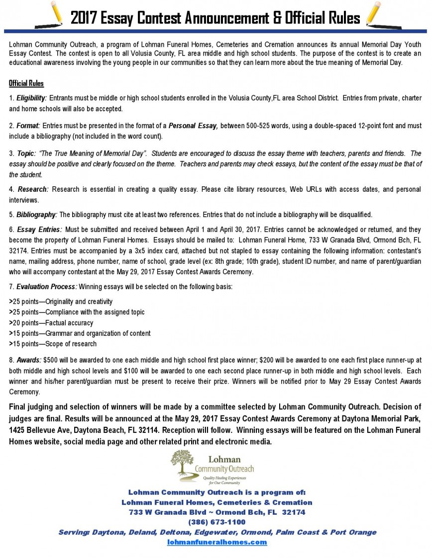 005 Essay Example Youth Essays On Memorial Day Contest New Smyrna Beach Contests For Middlel Students Open To Volusia County Fl H Competitions High International Writing Awesome Opinion About Crime Role Of In Politics Pdf Empowerment India