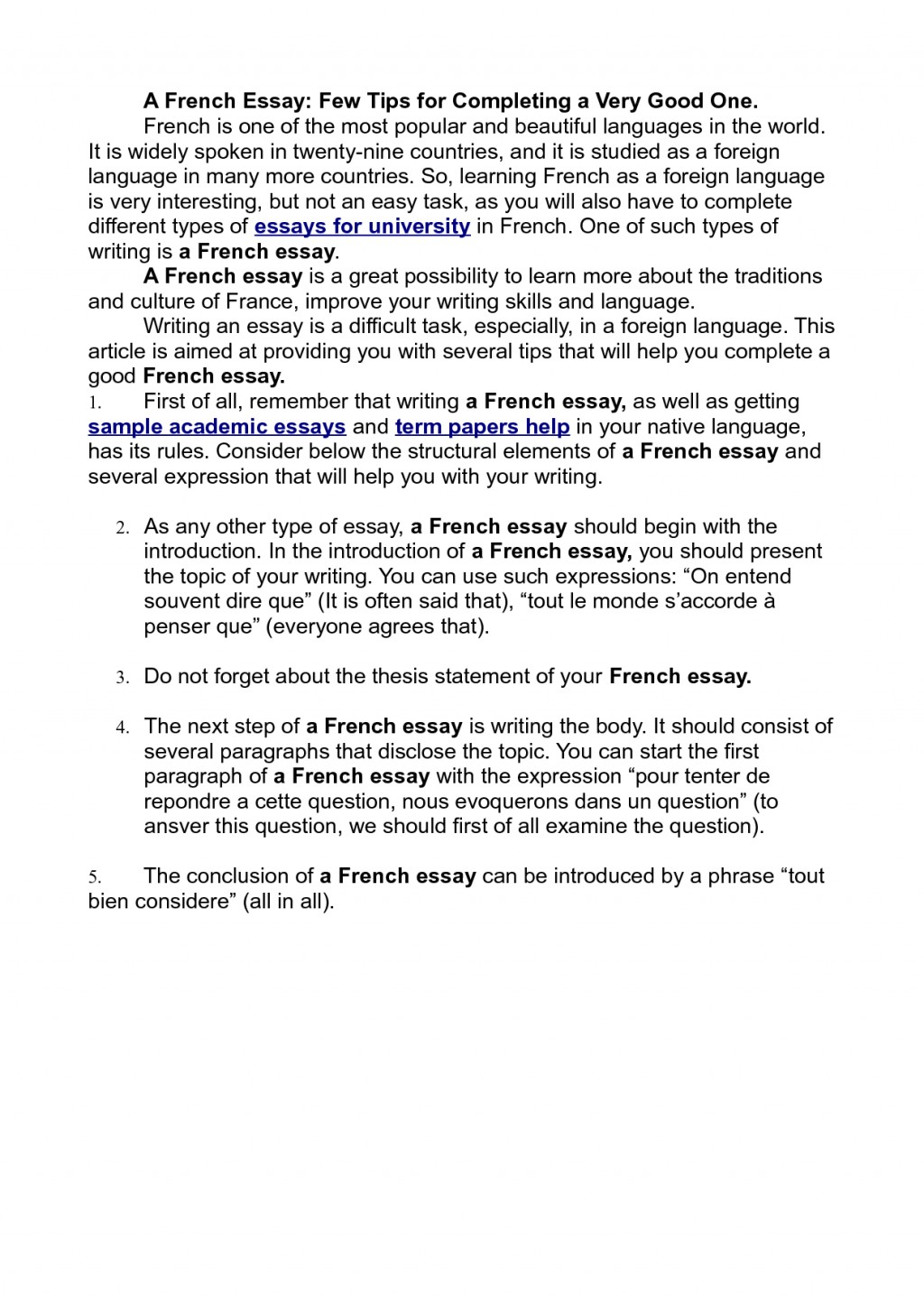 005 Essay In French Example Writing 416011 Frightening Small On My Family Language About Myself Large