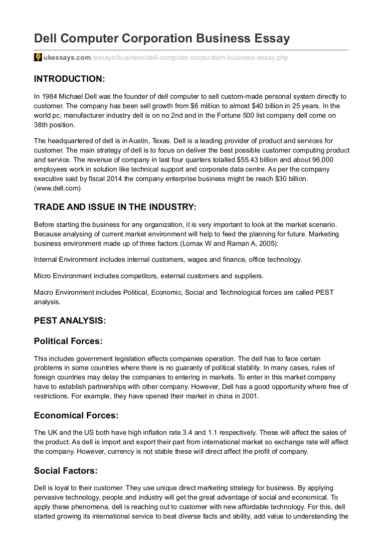 005 Essay On Computer Ukessays Com Dell Corporation Business Argumentative Topics About Classicalsic Lva1 App6892 Thumbn Persuasive Speech Rap Interesting Research Paper Example Singular Music Classical Industry Full