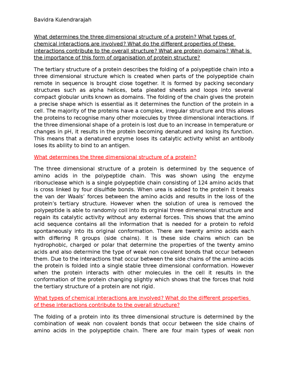 005 Essay On Respiratory Diseases Example What Determines The Three Dimensional Structure Of A Protein1444317597 Fascinating Full