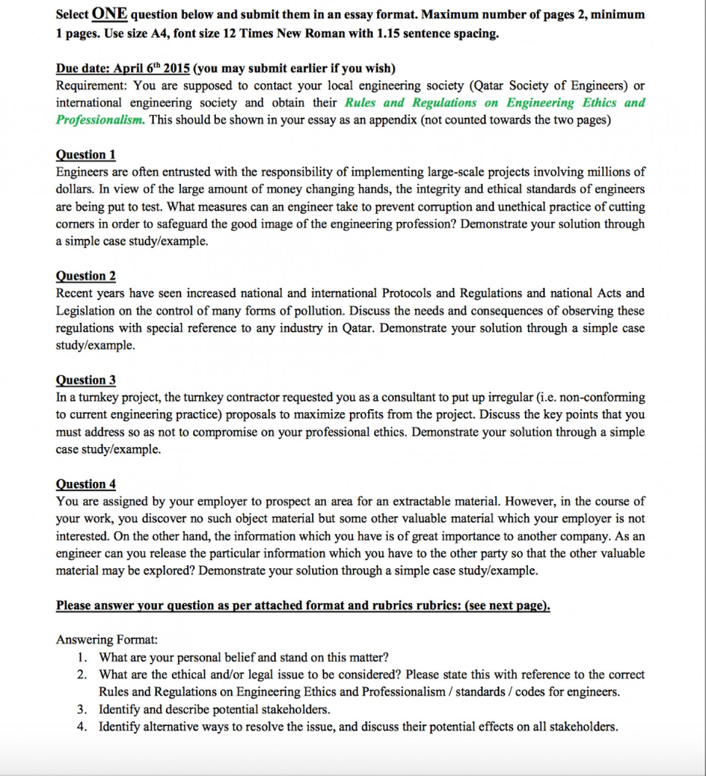 Moral essay form 4