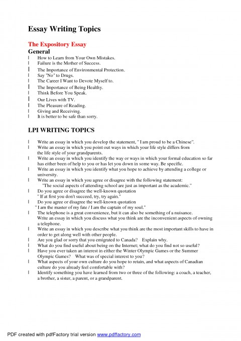 005 Essay Topics To Write About Arguable Good L Example Awful Exploratory Technology For College Medicine 480