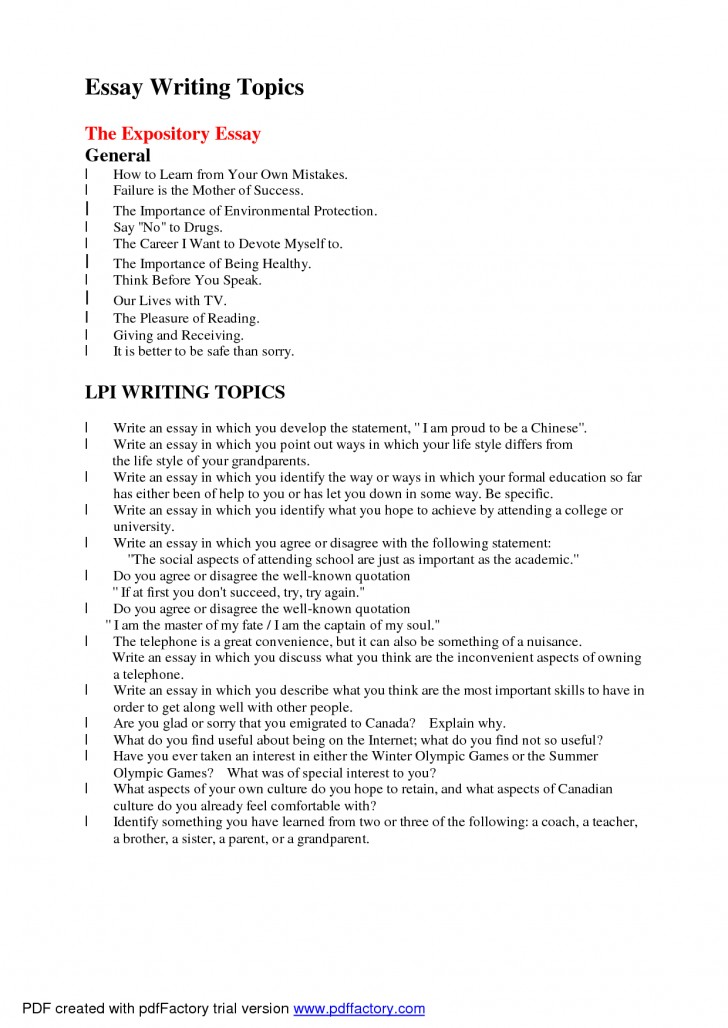 005 Essay Topics To Write About Arguable Good L Example Awful Exploratory Technology For College Medicine 728