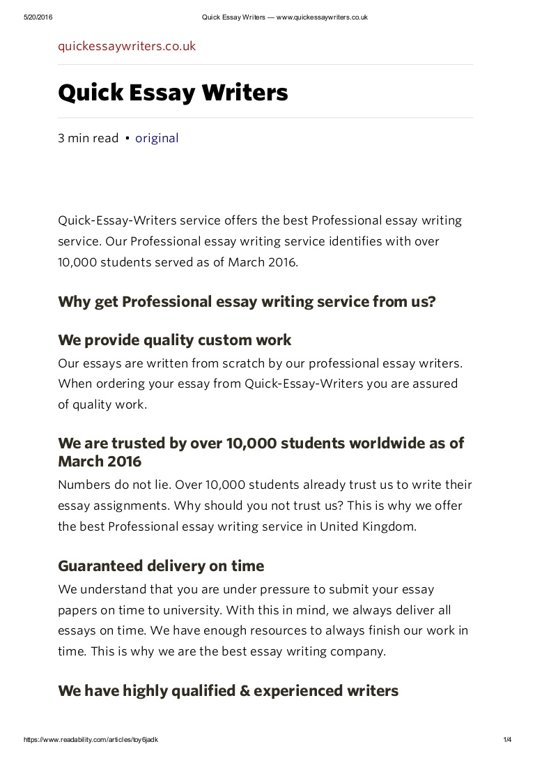 005 Essay Writers Uk Example Professionalessaywritingservicequickessaywriterswww Thumbnail Impressive Full