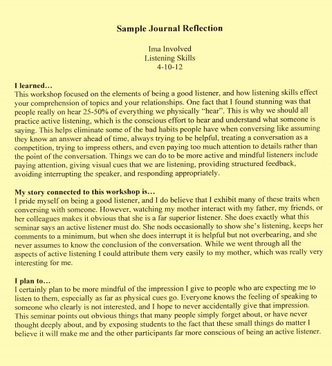 005 Examples Reflective Essay L Example How To Write Staggering A Thesis First Class 480