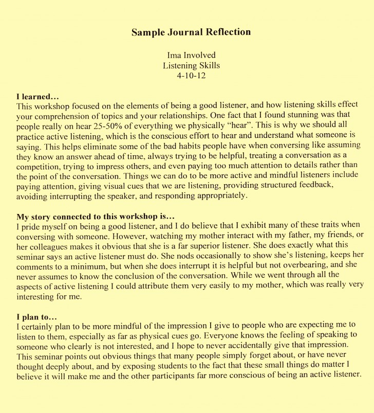 005 Examples Reflective Essay L Example How To Write Staggering A Thesis First Class 728