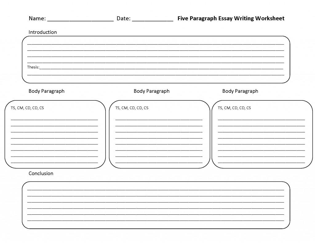 005 Five Paragraph Essay Lines Outline Template Fearsome 5 Persuasive Free Large