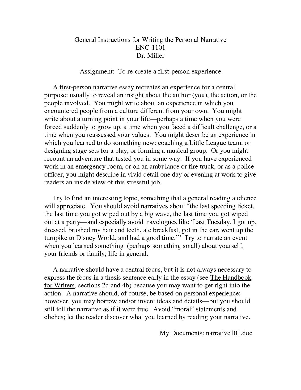 Semi narrative essay assignment