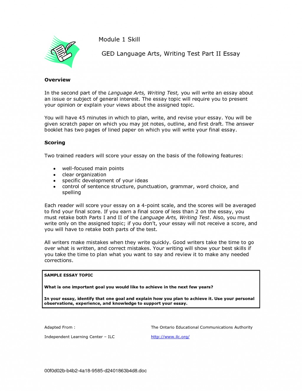005 Ged Essay Topics Writing Test Samples 109105 Stirring List Examples Pdf Large