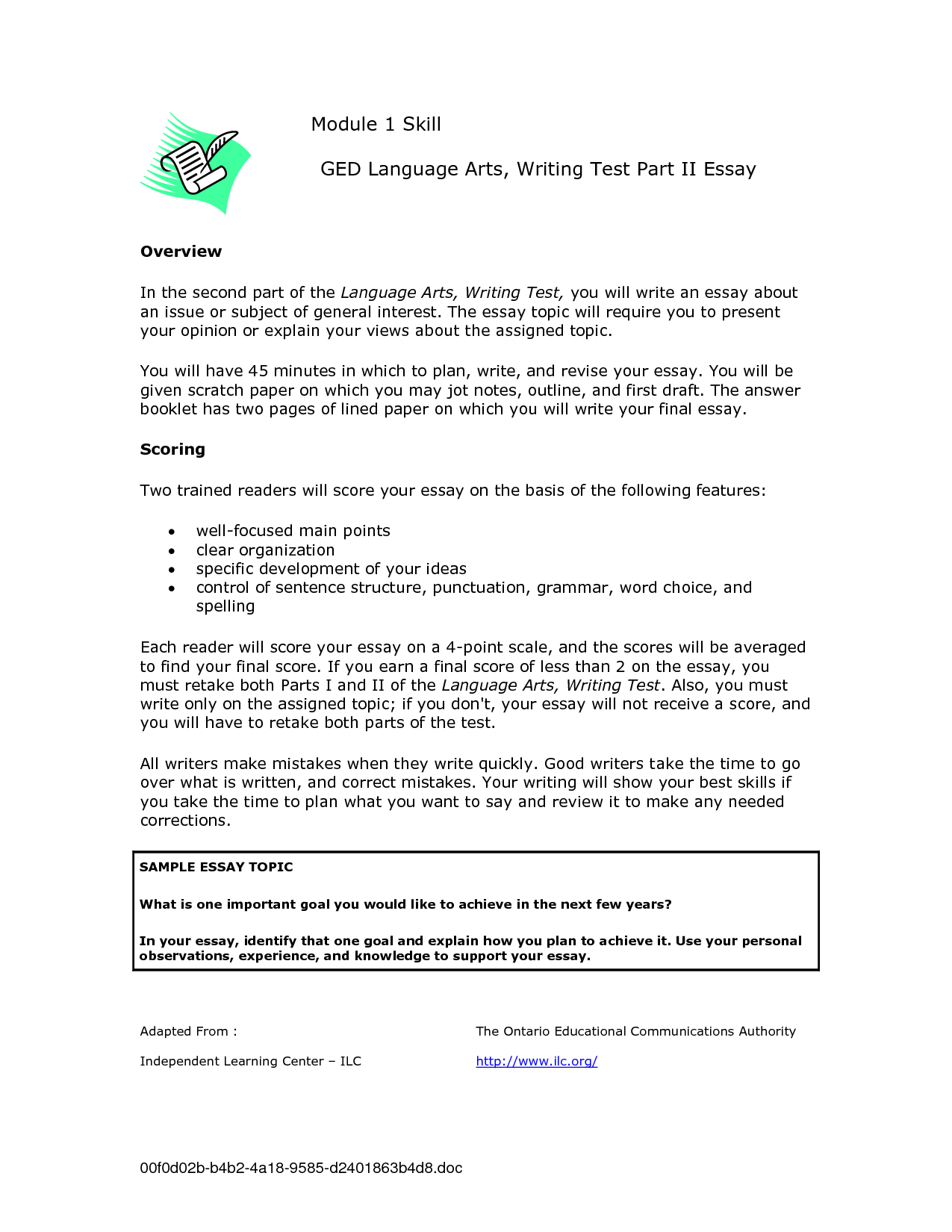 005 Ged Essay Topics Writing Test Samples 109105 Stirring List Examples Pdf Full