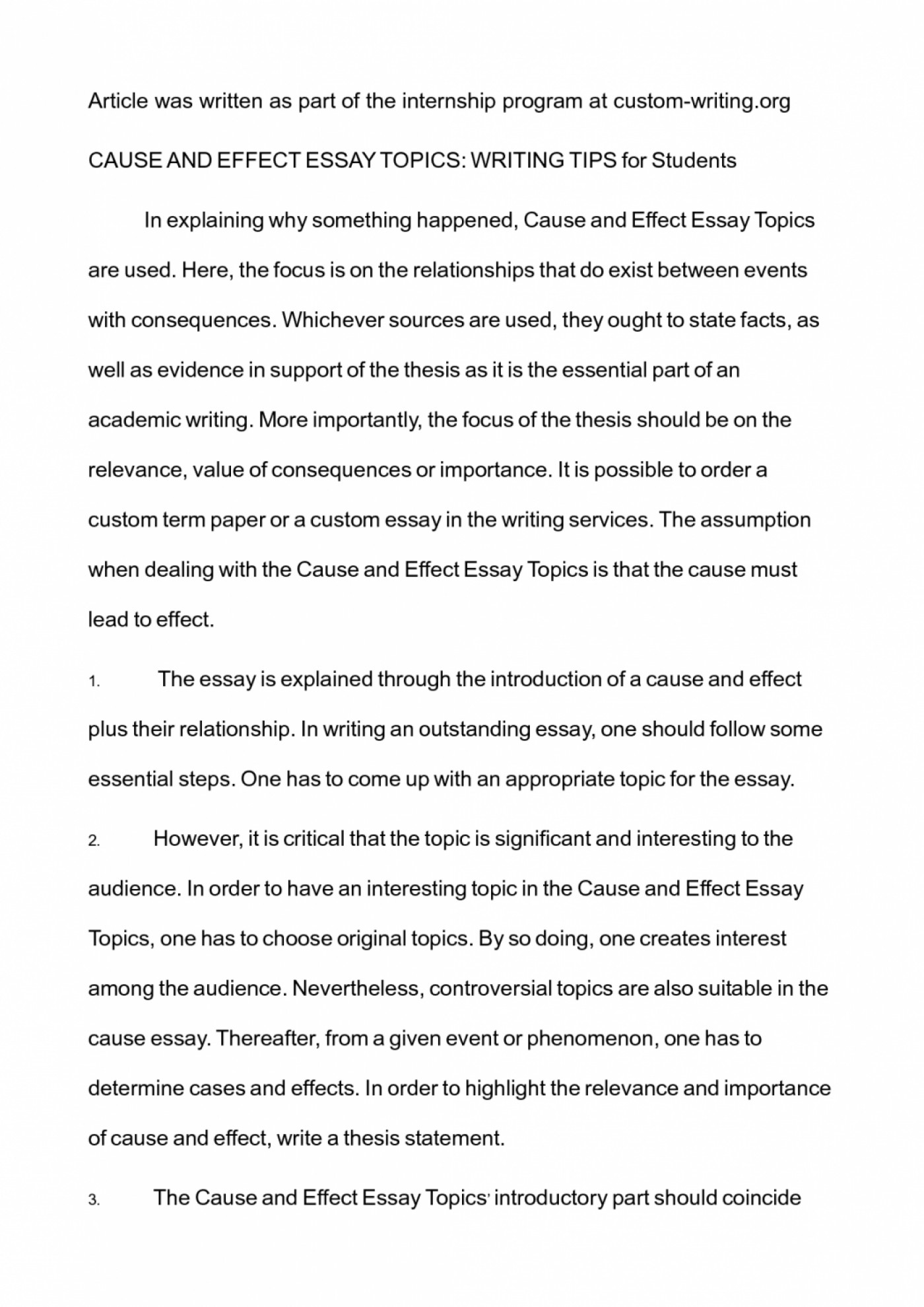 Good Cause And Effect Essay Topics - 001 essay example