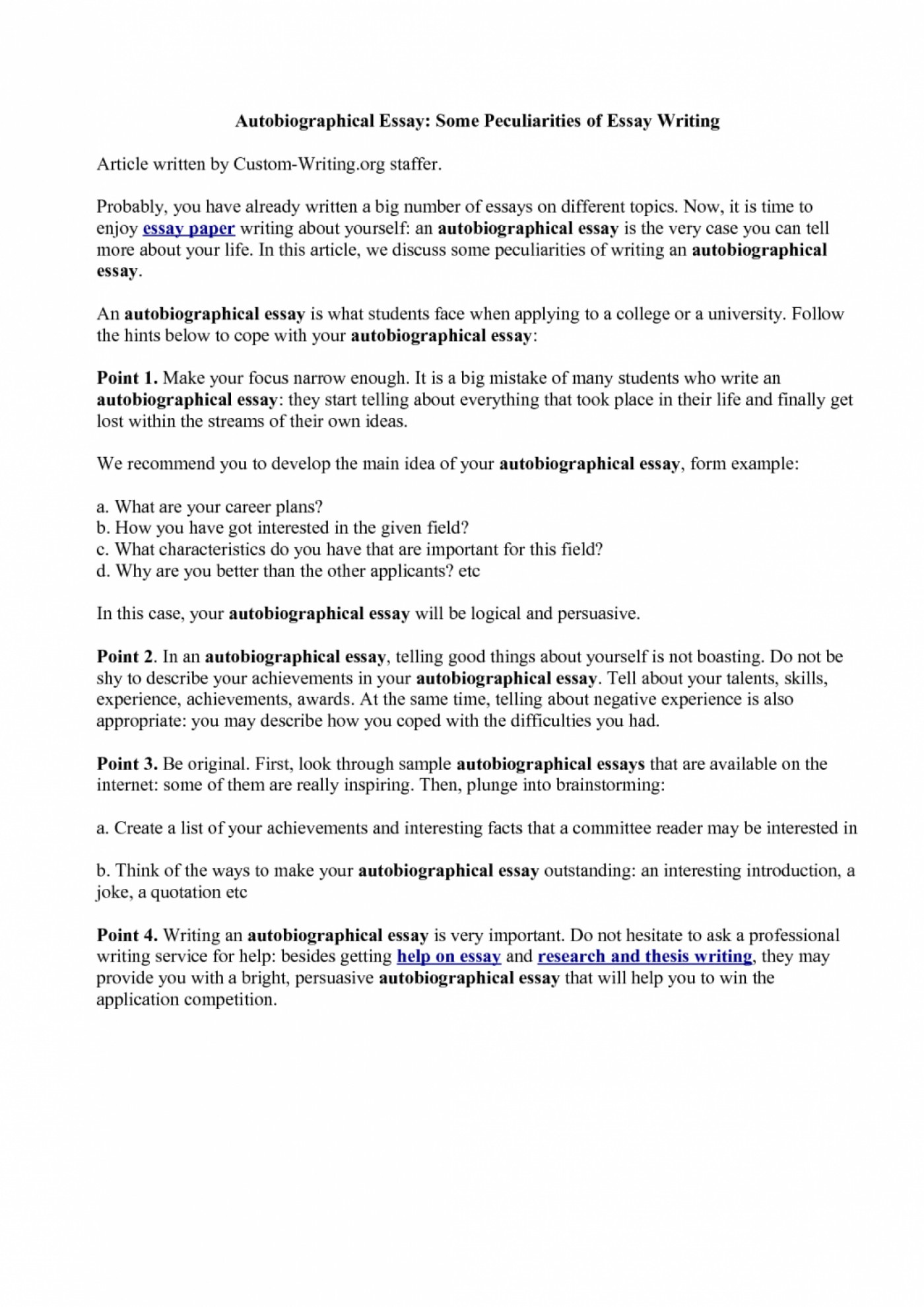 005 How To Start Autobiography Essay Example Of Telling About Yourself Shawn Weatherly Writing An Luxury Write Autobiographical For Job Written Graduate School Outline Singular Annotated Bibliography Examples A Good Scholarship 1400