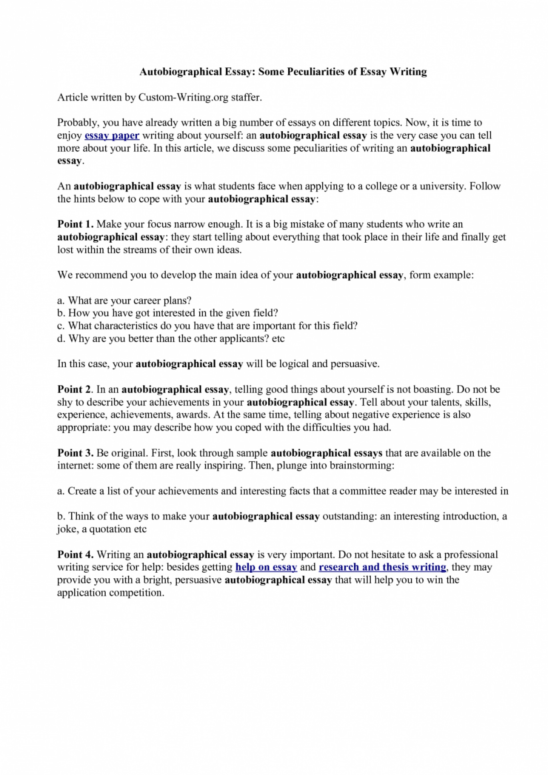 005 How To Start Autobiography Essay Example Of Telling About Yourself Shawn Weatherly Writing An Luxury Write Autobiographical For Job Written Graduate School Outline Singular Annotated Bibliography Examples A Good Scholarship 1920