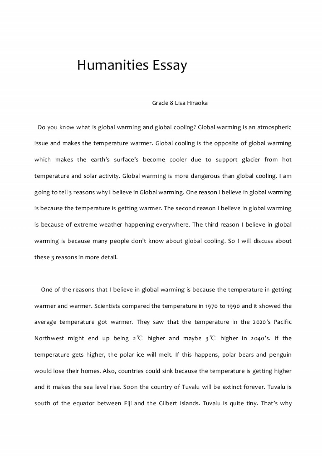 005 Humanitiesessay Phpapp02 Thumbnail Essay On Global Warming Impressive With Introduction And Conclusion Greenhouse Effect In 600 Words Large