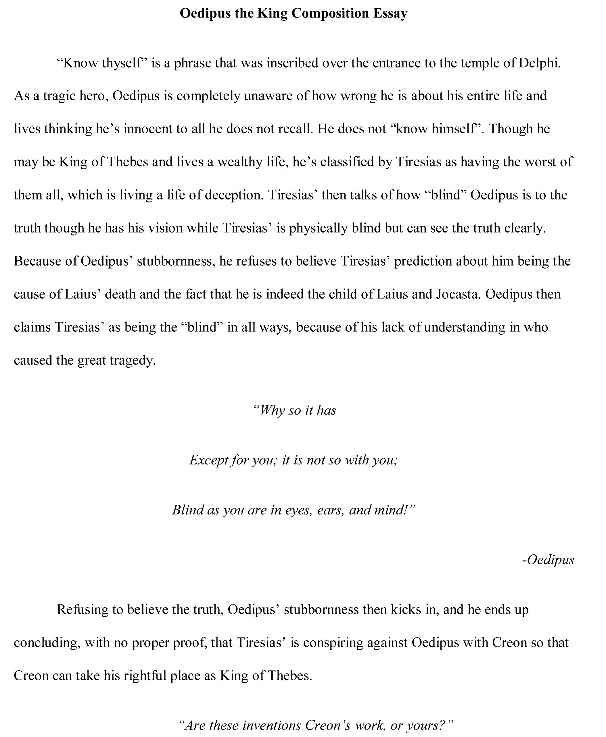 005 If I Were Blind Essay Example Oedipus Free Singular Full