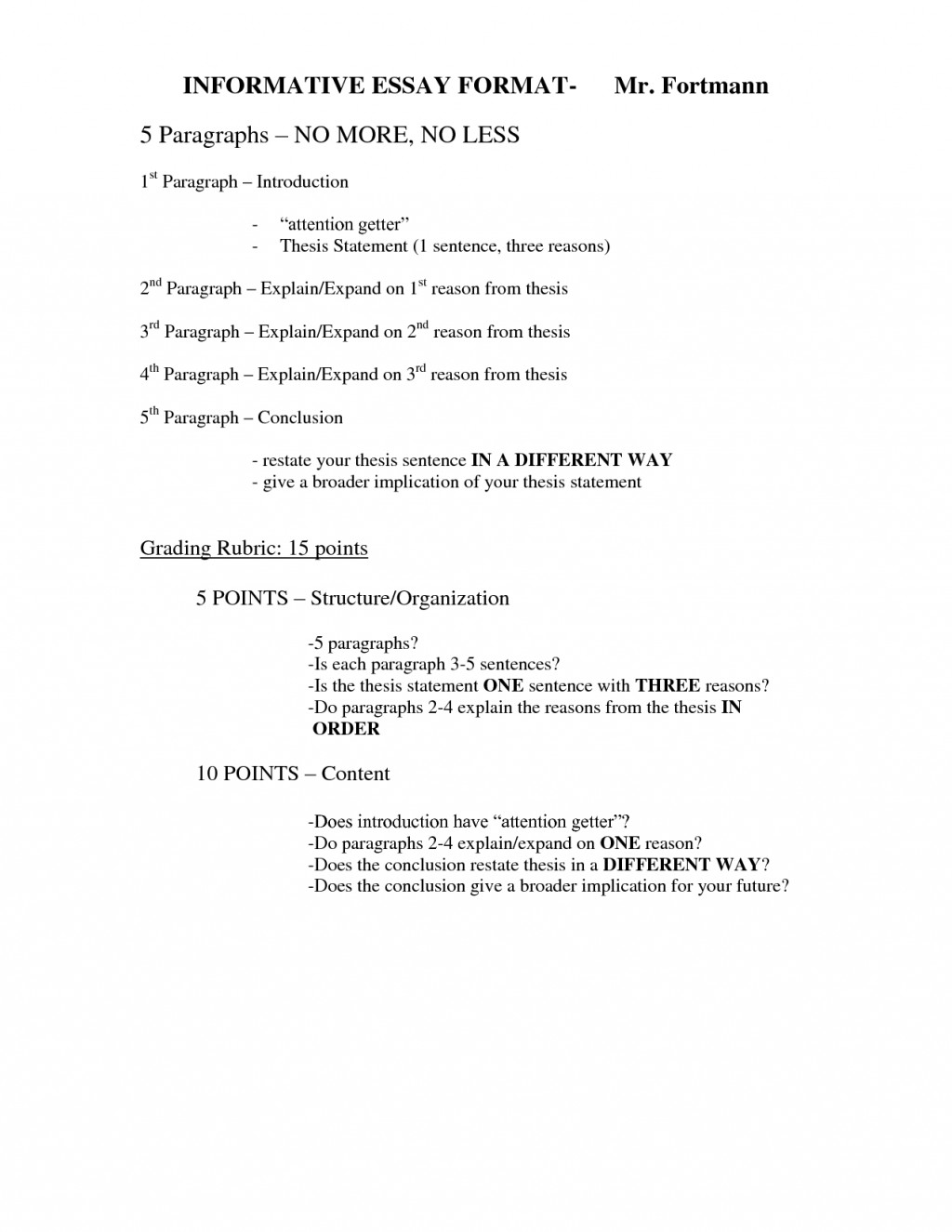 005 Informational Essay Unforgettable Rubric 4th Grade Informative Outline Explanatory Definition Large