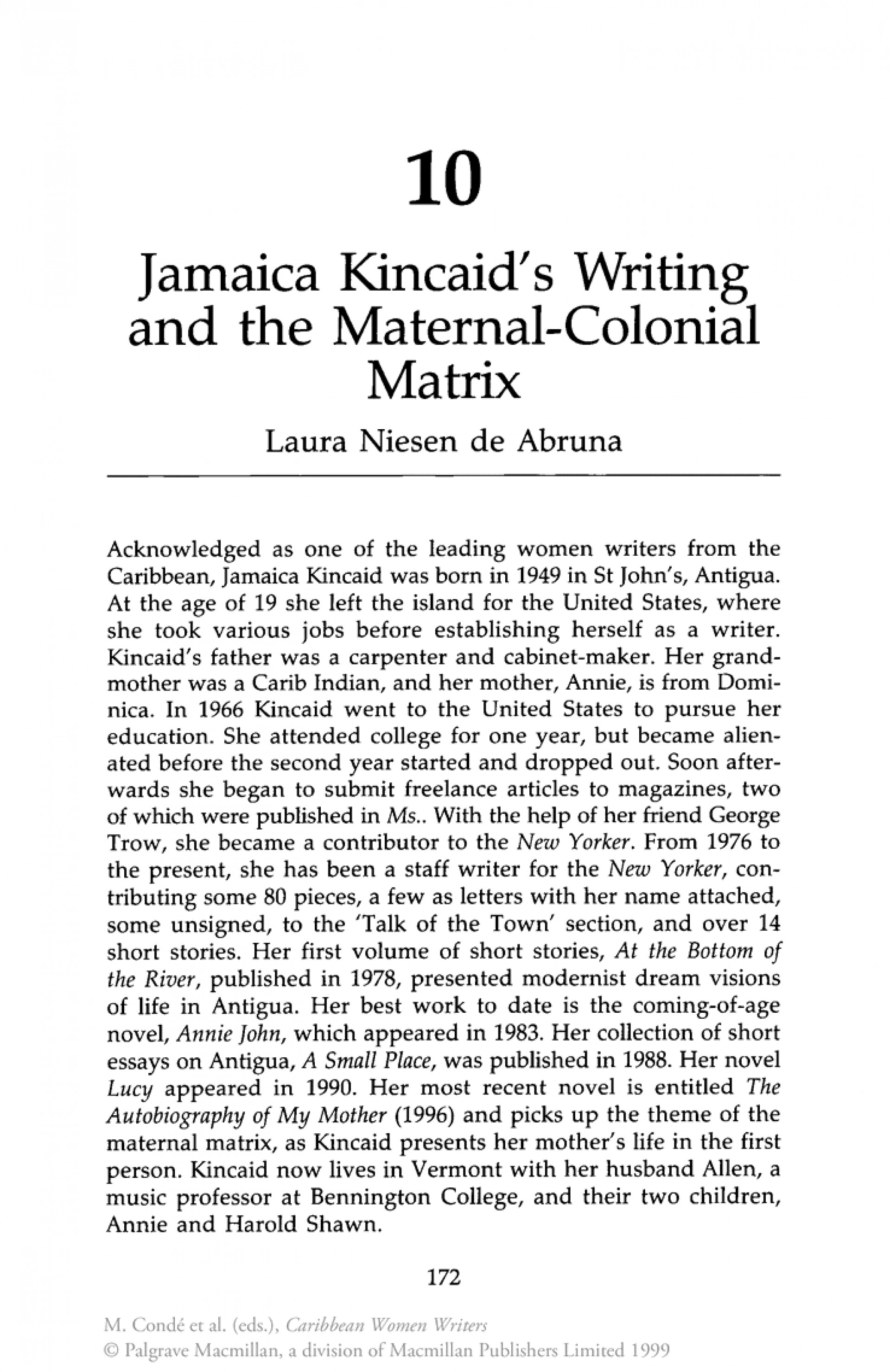 005 Kincaid Essay Jamaica Girl Free Topics Critical By Title On Marvelous 1920
