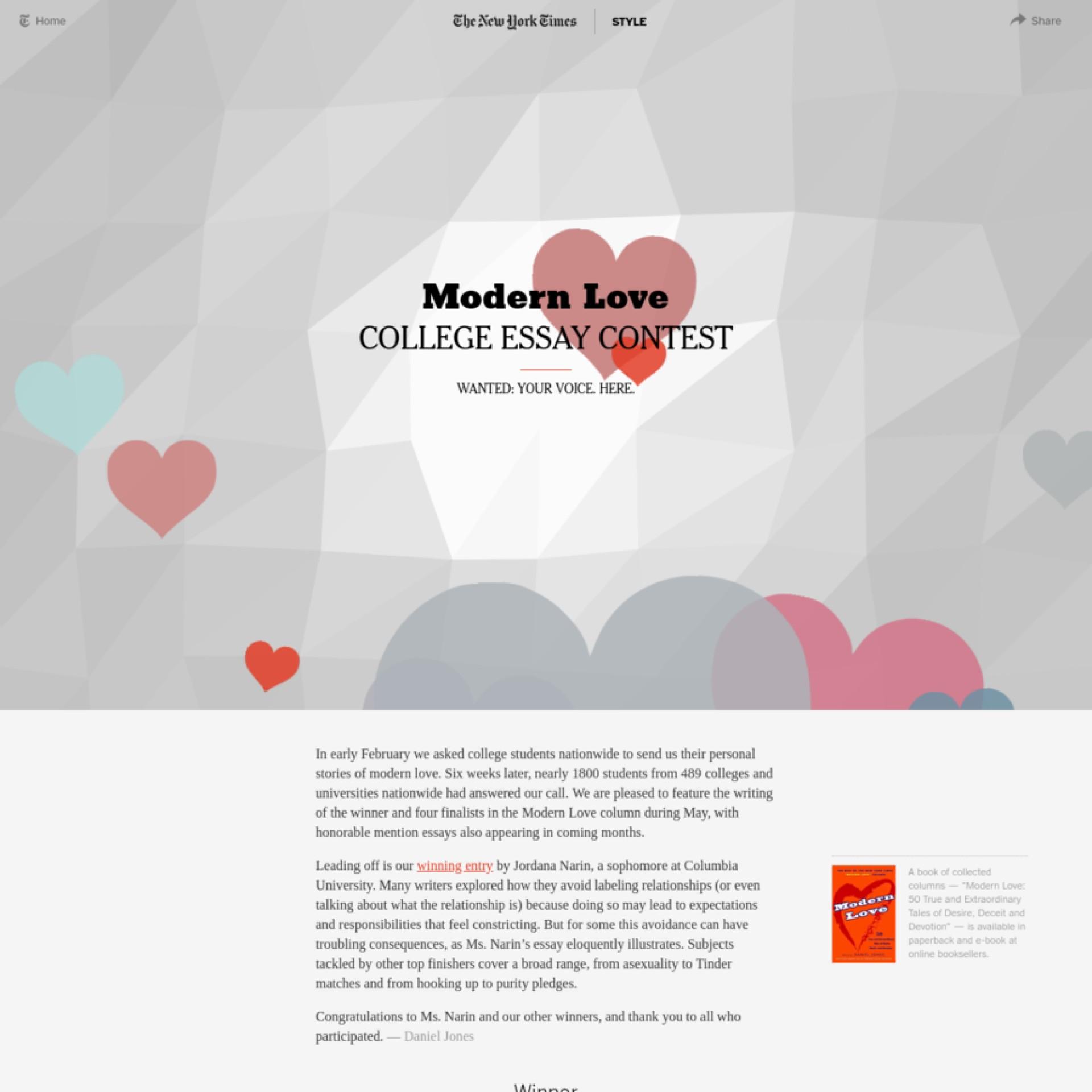 005 Large 9c7cbb98d14cce0731e1794ebb29986f1534592219 Modern Love College Essay Contest Impressive 2016 1920