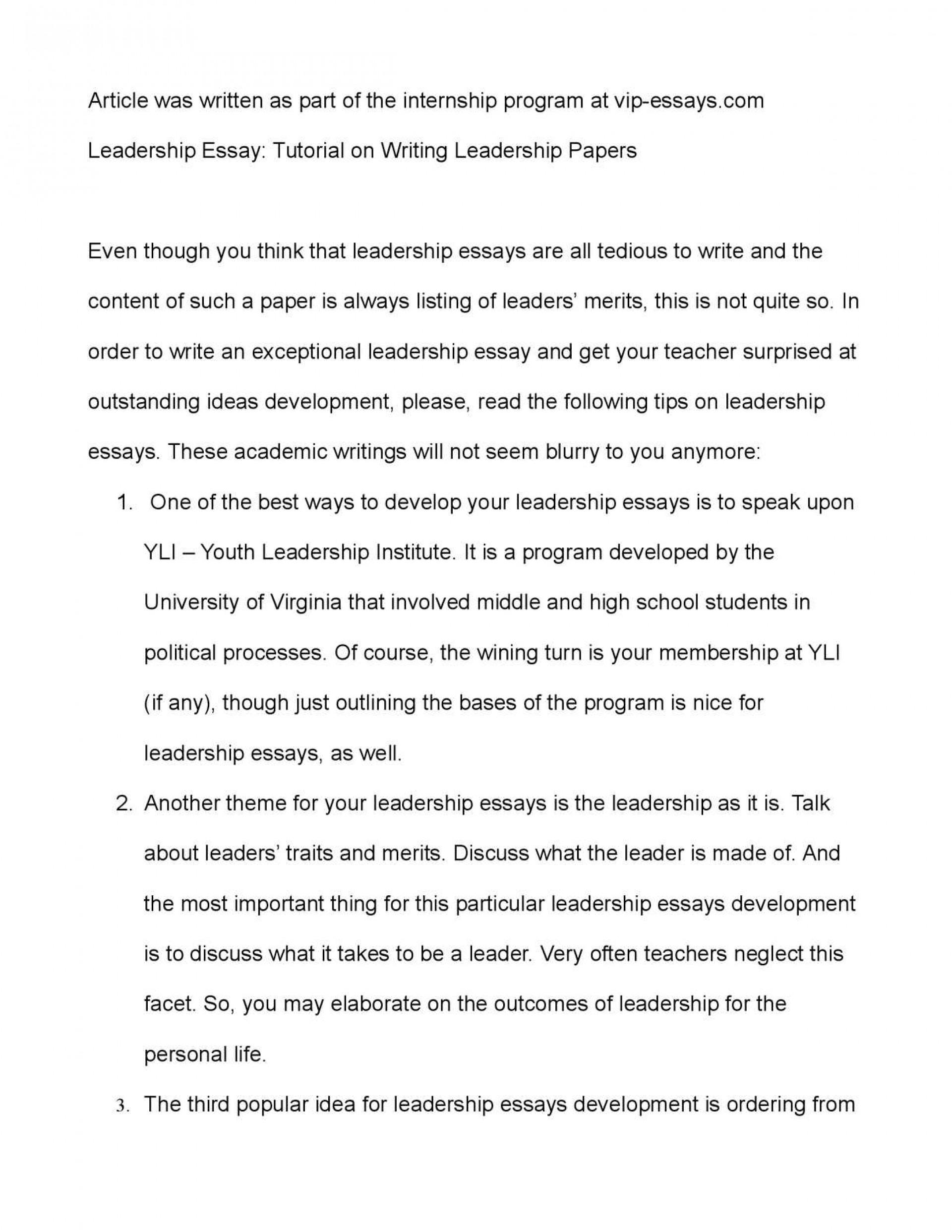 Leadership essays mba