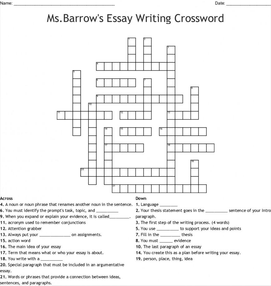 005 Msbarrows Essay Writing 234705 Example Fascinating Crossword Academic Clue Dan Word Newspaper Critical