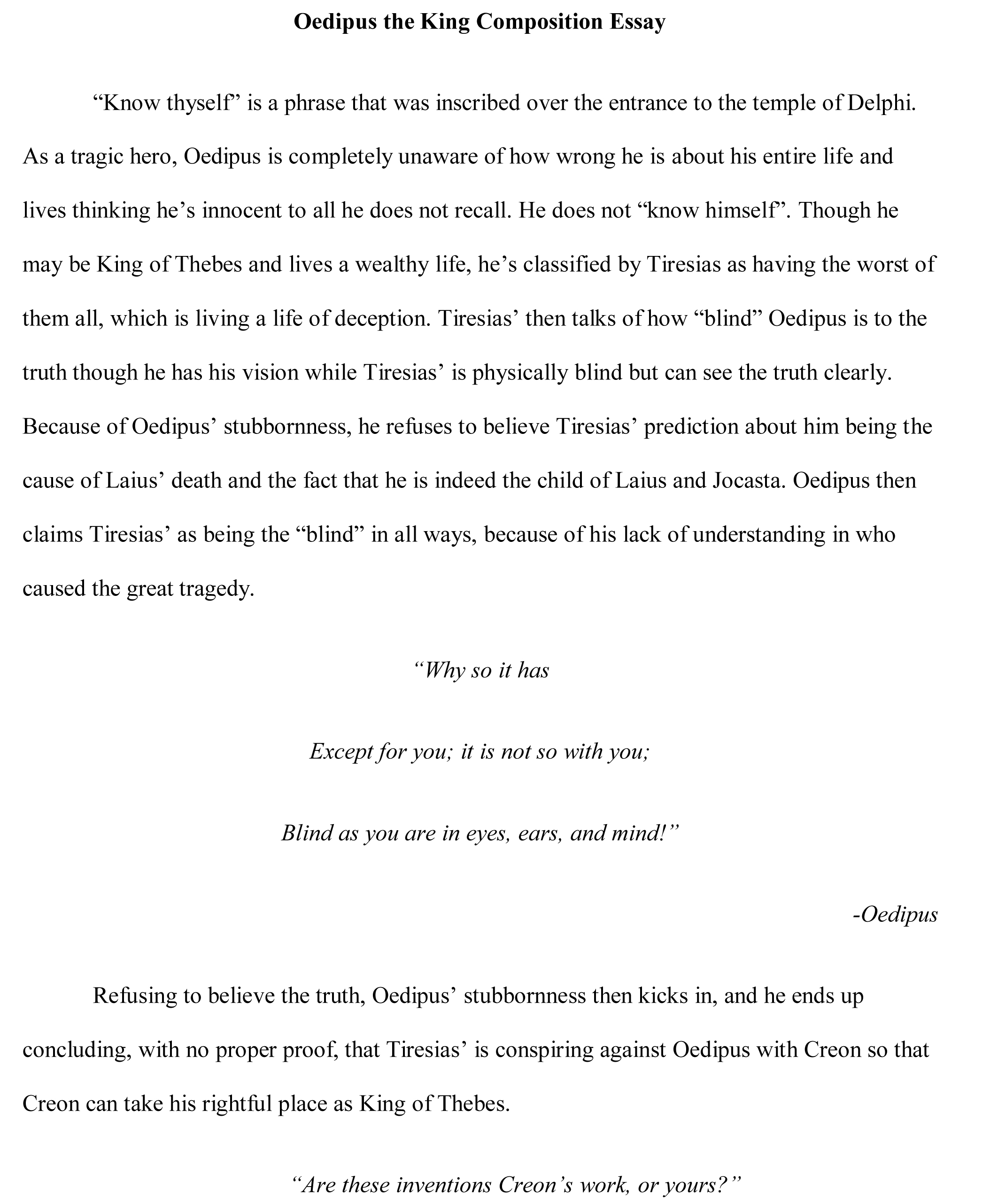 005 Oedipus Essay Free Sample Topics For An Unbelievable Interesting Expository Full