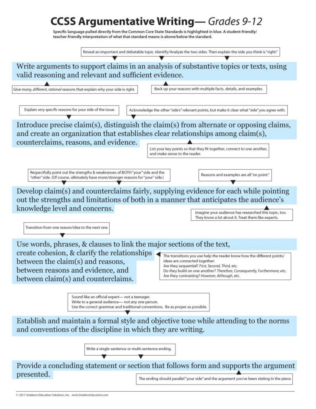 005 Parts Of Persuasive Essay Ccss Argumentative Grade 9 12o Imposing 6 A Large