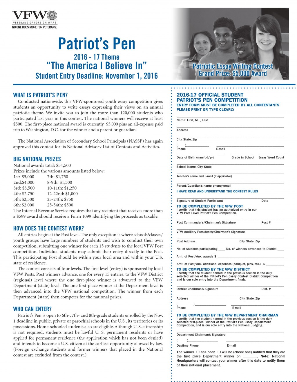 005 Patriots Pen Essay Contest Example Remarkable Patriot's 2018 Winners Vfw Entry Form Large