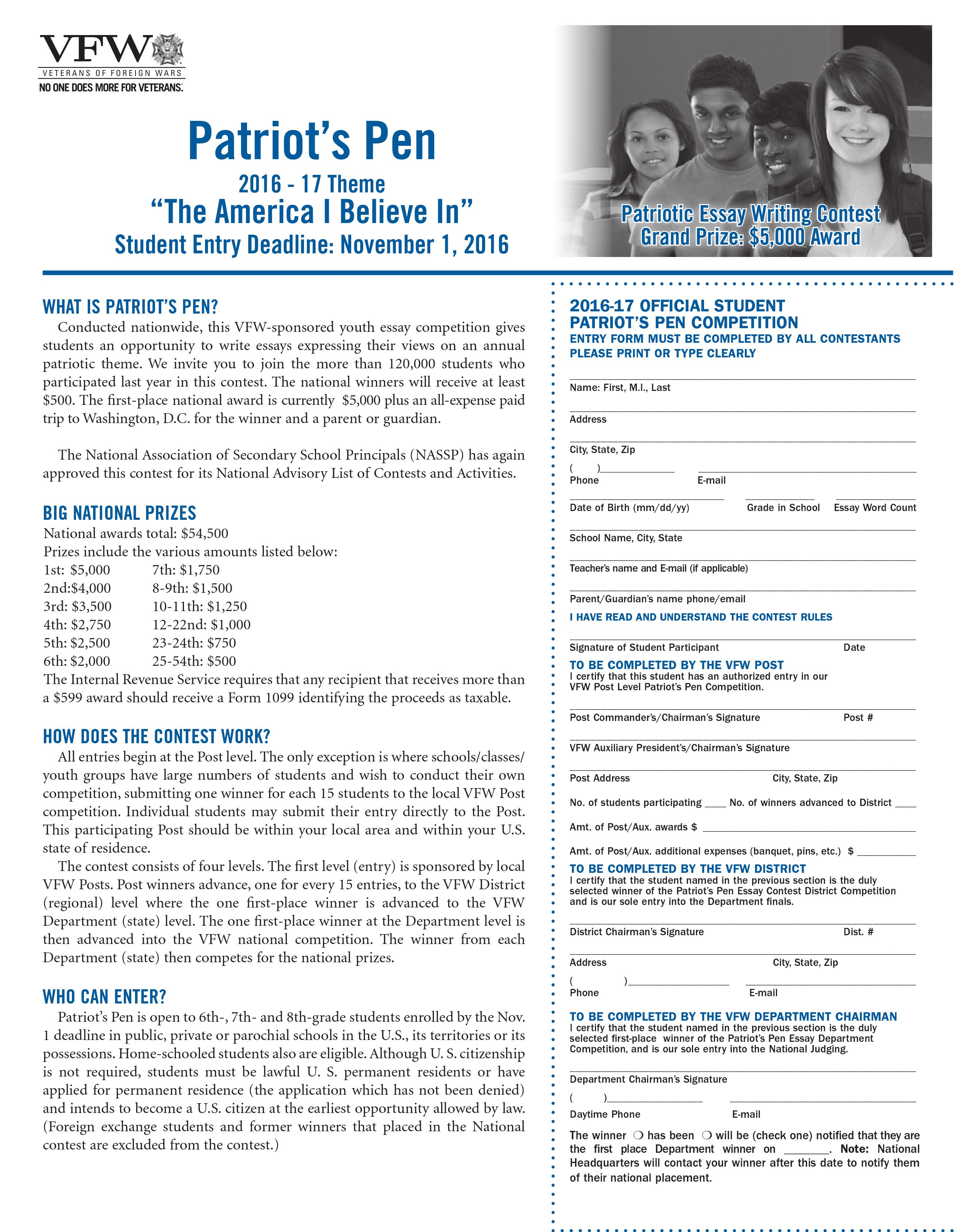 005 Patriots Pen Essay Contest Example Remarkable Patriot's 2018 Winners Vfw Entry Form Full