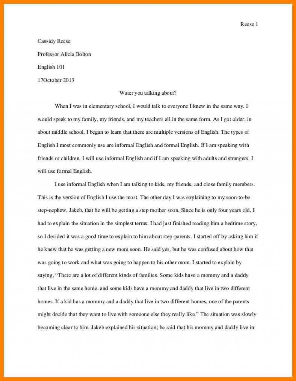 005 Personal Narrative Essay Examples High School Example Address Frightening Large