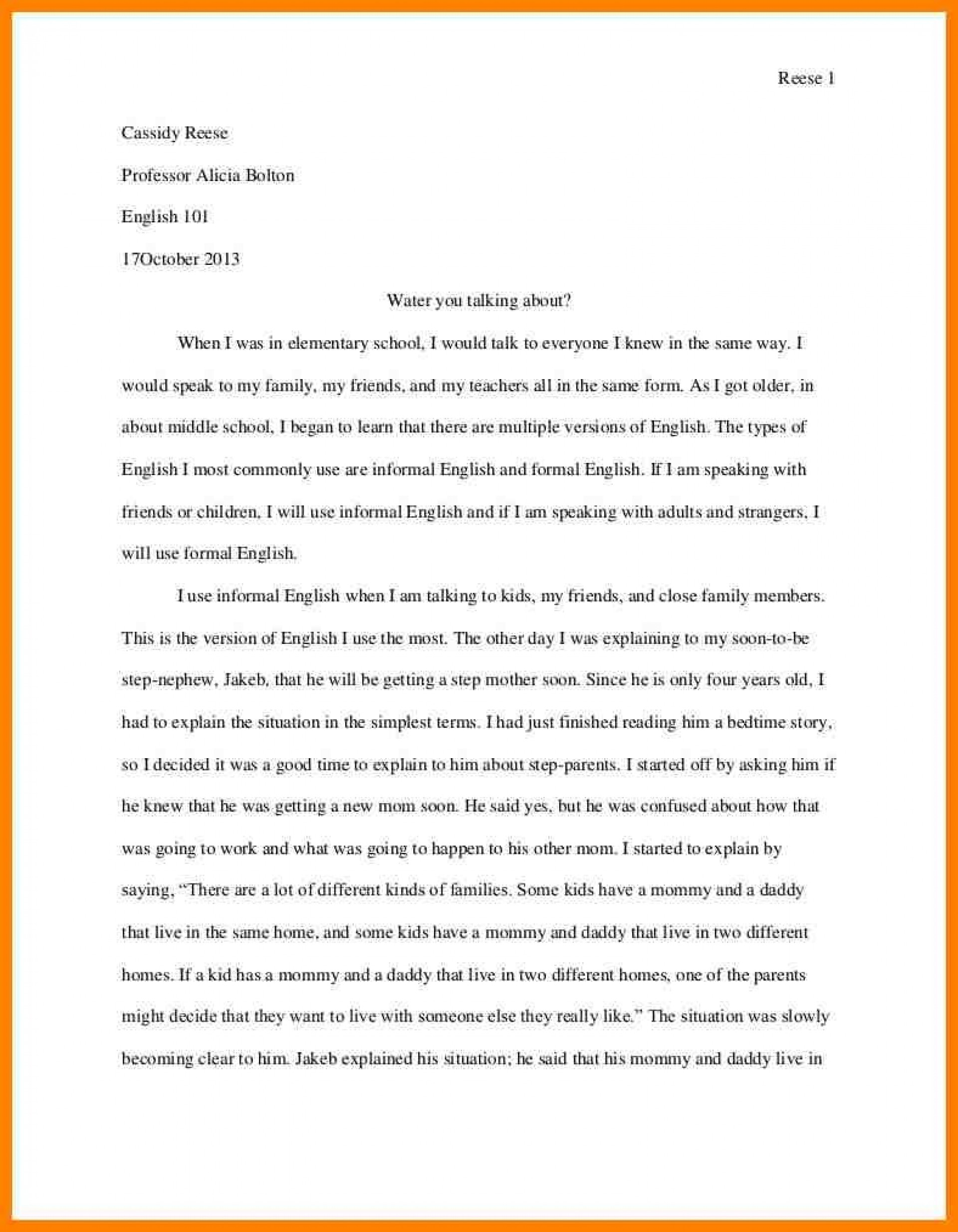 005 Personal Narrative Essay Examples High School Example Address Frightening 1920