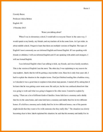 005 Personal Narrative Essay Examples High School Example Address Frightening 360
