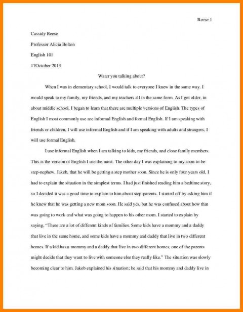 005 Personal Narrative Essay Examples High School Example Address Frightening 480
