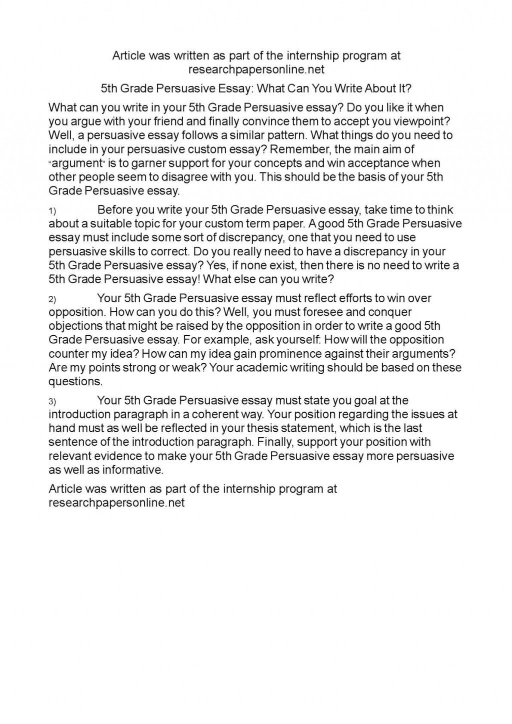 005 Persuasive Essay Writing For 5th Grade Example Impressive Essays Written By Fifth Graders A Prompts Large