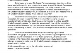 005 Persuasive Essay Writing For 5th Grade Example Impressive Essays Written By Fifth Graders Sample A
