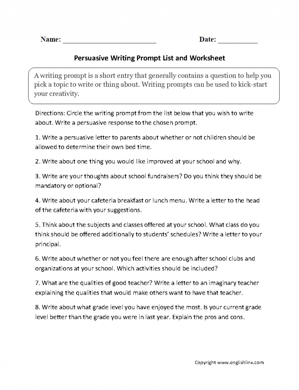 005 Persuasive Writing Prompt List Essay Prompts Formidable Narrative For Middle School 5 Paragraph 5th Grade Large